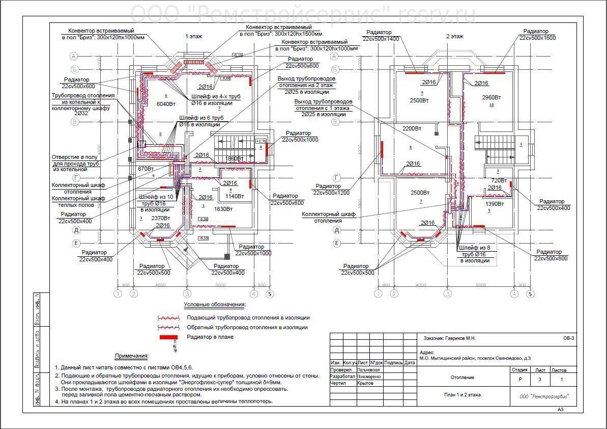 Схема чертеж отопления