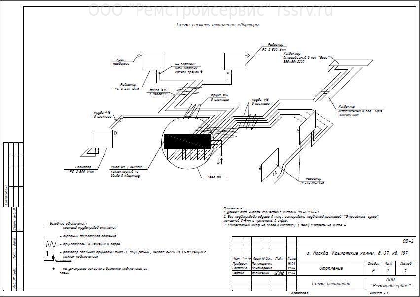схему отопления коттеджей.